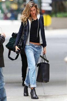 Shop this look on Lookastic: https://lookastic.com/women/looks/blazer-hoodie-v-neck-sweater-boyfriend-jeans-ankle-boots-tote-bag-crossbody-bag/8195 — Navy Blazer — Grey Hoodie — Black V-neck Sweater — Light Blue Boyfriend Jeans — Black Leather Ankle Boots — Black Leather Tote Bag — Black Leather Crossbody Bag