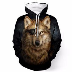 Cool Gray Pirate Wolf Yellow Eyes Wild Animal Stunning 3D Hoodie #Cool #Gray #Pirate #Wolf #Eyes #Wild #Animal #Stunning #Hoodie