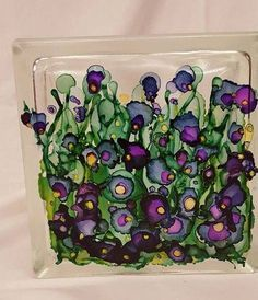 alcohol ink on glass block