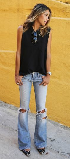 SINCERELYJULES 'Piper' sleeveless sweatshirt ABERCROMBIE & FITCH denim flares, LOUBOUTIN 'Degras' spike flats.