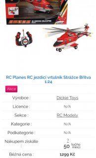 Prodám Planes vrtulník Břitvu na dálkové ovládání. Syna nezaujal, tak putuje zase zabalený dál.. pořizovací cena 1299,- nechám za 1000,-