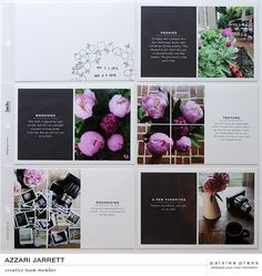 Peony Project Life Layout by azzari at J'aime l'impression en blanc sur noir? Project Life Scrapbook, Project Life Album, Project Life Layouts, Project 365, Book Layouts, Pocket Scrapbooking, Scrapbooking Ideas, Digital Scrapbooking, Album Design