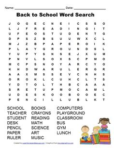 Free Printable - Back to School Word Search