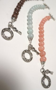 COCOA Dyed Jade Ball Bracelet with Large Toggle by Links & Locks, $20.00