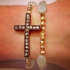 Antique gold cross bracelet set by AroundMyWrist on Etsy, Beaded Jewelry, Jewelry Box, Jewelery, Jewelry Accessories, Jewelry Design, Beaded Bracelets, Unique Jewelry, Gold Cross, Bracelet Set