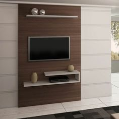 Painel para TV 3055 em MDF 208 x 180 x 32 Capuccino/Montego Blanc - Quiditá Tv Wall Cabinets, Living Room Cabinets, Tv Unit Decor, Tv Wall Decor, Tv Cabinet Design, Tv Wall Design, Tv Wanddekor, Tv Unit Furniture Design, Modern Tv Wall Units