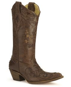 Corral Choco Lizard Inlay Western Cowgirl Boots - Pointed Toe