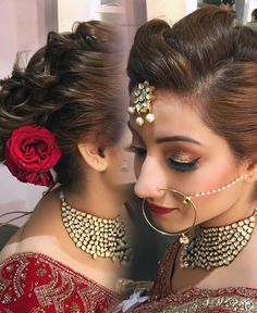Gorgeous bridal hair look for richa  with red and golden eyes with red  lips Hair Artistry By Archana Rautela