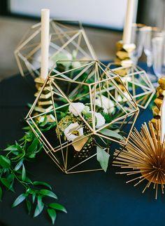 Gold Contemporary Wedding Decor with Floral Arrangement - Photography: Sarah Pudlo