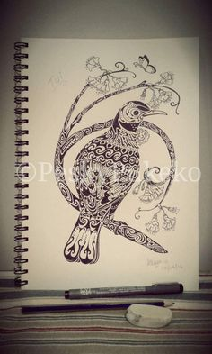A New Zealand Tui bird design in pen