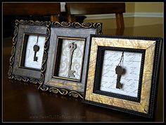 Easy DIY Framed Keys (simple - using key charms or old keys) Diy Wall Art, Diy Wall Decor, Diy Home Decor, Wall Décor, Old Key Crafts, Diy Crafts, Frame Crafts, Antique Keys, Vintage Keys