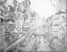 Ville utopique steampunk