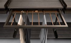Walk-in Closet Accessories: Trousers rack with belts tray in regenerated beaver leather finishing. Wardrobe Room, Wardrobe Storage, Walk In Wardrobe, Wardrobe Design, Closet Bedroom, Closet Storage, Walk In Closet, Bedroom Storage, Dressing Room Closet