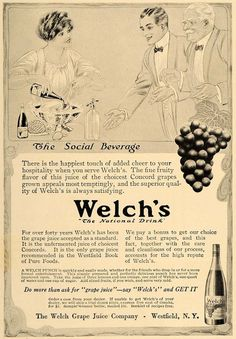 1913 Ad Welch's Concord Grape Juice Bottle Westfield NY - ORIGINAL CL8