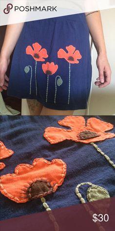Organic material poppy skirt