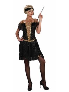Golden Glamour Flapper Costume   Wholesale 20s Costumes for Women