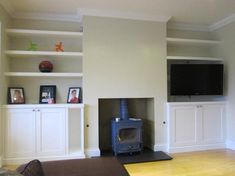 Hottest Screen Fireplace Remodel with shelves Concepts alcove cabinets Richmond Alcove Storage Living Room, Living Room Cupboards, Built In Shelves Living Room, Cottage Living Rooms, Living Room Tv, Dining Room, Alcove Seating, Salons Cottage, Built In Tv Cabinet