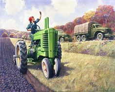 """""""V is for Victory"""" by Walter Haskell Hinton. 1945 oil on canvas. From the collection of John Deere  Company, on loan to Figge Art Museum, Davenport, Iowa, for the """"Walter Haskell Hinton: Image Maker for Deere"""" exhibition (2013)"""