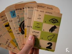 downloadable PDF template to make library pockets - love these pockets made from vintage workbooks