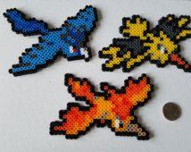 Pokemon perla Perler Sprites - Articuno, Zapdos y Moltres