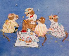 Whimsical mice - Catherine Howell Wool Embroidery, Japanese Embroidery, Embroidery Patterns, Embroidered Baby Blankets, Squirrels, Colouring Pages, Applique Designs, Wool Blanket, Mice
