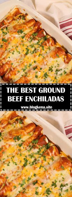 These are the best Ground Beef Enchiladas! INGREDIENTS 1 p. Easy Beef Enchiladas, Enchilada Casserole Beef, Ground Beef Enchiladas, Beef Enchilada Recipes, Mexican Dishes, Mexican Food Recipes, Ground Beef Recipes Mexican, Best Ground Beef Recipes, Beef Recipes For Dinner