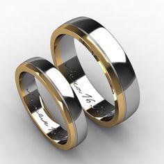 Обручальные кольца из белого и желтого золота. Ширина мужского и женского колец 6 и 4,5 мм соответственно.