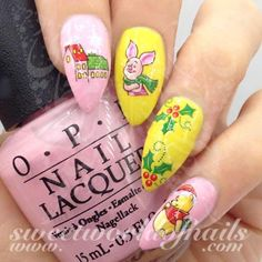Christmas Nails Winnie The Pooh Piglet Nail Water Decals https://www.sweetworldofnails.com