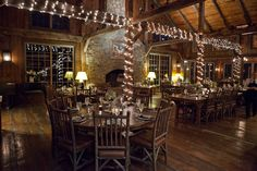 Awesome rustic look for wedding reception. By Misti Morningstar at Thorpewood wedding.
