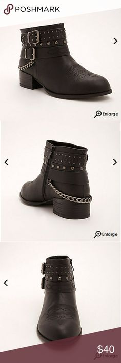 New! 13 Wide Torrid Studded Chain Ankle Boots New! 13 Wide Torrid Studded Chain Ankle Moto Boots Booties torrid Shoes Combat & Moto Boots