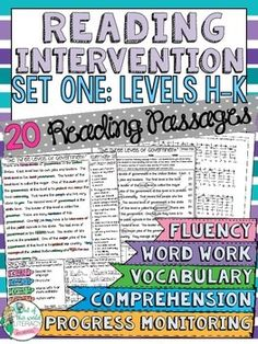 Reading Intervention Program for Fountas and Pinell Levels H-K! This resource includes daily intervention lessons for a month! It includes 20 fluency passages, targeted comprehension, word work, and vocabulary for each day. It also includes progress monitoring line graphs, bar graphs, and so much more!! ($)