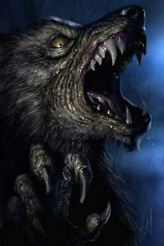 Werewolf Art by Chris Scalf @ ArtStation Dark Fantasy Art, Dark Art, Fantasy Creatures, Mythical Creatures, Beast, Dragons, Werewolf Art, Horror Artwork, Geniale Tattoos