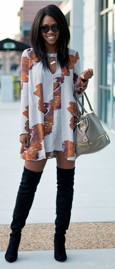 transition outfit tip: pair over-the-knee boots with a floral sundress to take your wardrobe from spring to fall!