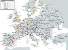 Maps of high-speed rail routes around the world.