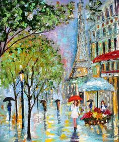 umbrellas under effel tower by knife