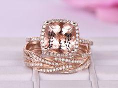 Cushion Morganite Engagement Ring Bridal Sets Diamond Eternity Infinite love Band 14K Rose Gold 10mm - 3.5 / 14K Yellow Gold