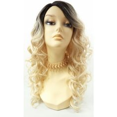 Long 18 Inch Light Blonde Heat Resistant Curly Wig With Dark Brown... ($60) ❤ liked on Polyvore featuring beauty products, haircare, hair styling tools, bath & beauty, grey, hair care, wigs and curly hair care