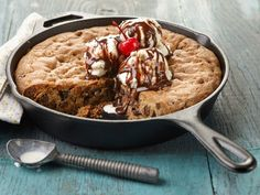 Crispy on the outside, and warm and chewy on the inside, Ree's next-level chocolate chip cookie--made easily in an ovenproof skillet--is finished with classic sundae must-haves.