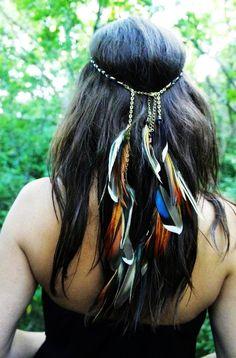 First Fire handmade feather headband hippie hair feathers beads.  Another idea sis.