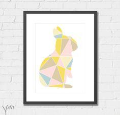 Art Print Nursery Print Geometric Bunny  A4 by ScissorsPaperMouse