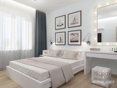 Quartos minimalistas por мастерская дизайна welcome studio minimalista Master Bedroom Minimalist, Relaxing Master Bedroom, Master Bedroom Interior, Bedroom Bed Design, One Bedroom Apartment, Home Interior, Modern Bedroom, Bedroom Decor, Interior Design