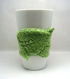 leaf-shaped knit coffee cozy. PDF pattern. by maryellen