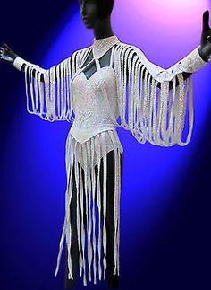 Retro Classic Iridescent White Fringe Dress Costume Drag Queen Showgirl Dancer