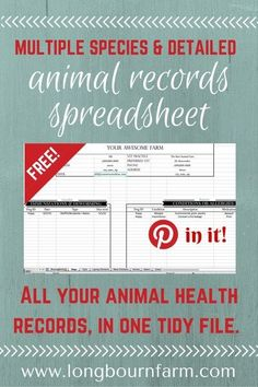 Free Animal Records Spreadsheet