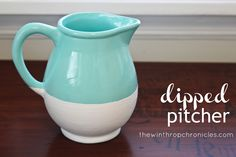 the winthrop chronicles: dipped pitcher......makeover for any outdated pitcher you see at the thrift stores!