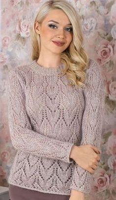 Пуловер бежевого цвета спицами