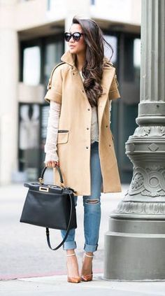 #fall #fashion / ripped denim + camel coat