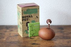 Ostrich rare Mid-Century wooden animal from the Royal Pet Line made by Senshukai in a collectors animal figurine Vintage Candles, Vintage Tins, Wooden Animals, Vintage Storage, Coming Of Age, Vintage Pottery, Vintage Japanese, Vintage Accessories, Mid Century
