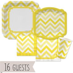 Amazon.com: Chevron Yellow - Party Tableware Bundle for 16 Guests: Toys & Games $29.99