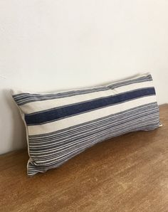 Vintage Handwoven Hmong Blue and White Striped Lumbar Pillow | Etsy